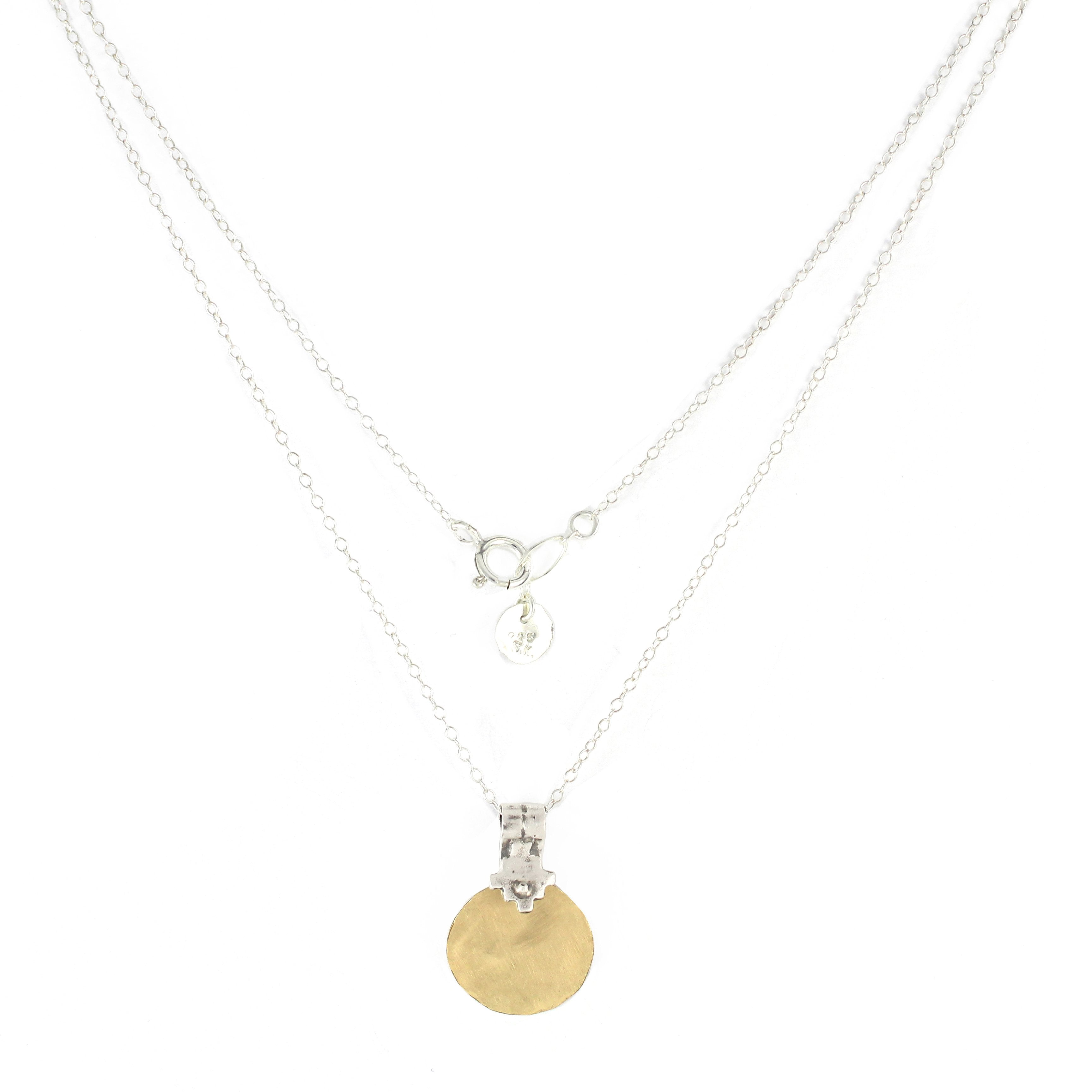 Western Moroccan Style Silver & Gold filled Medium-Small Pendant Necklace - Shulamit Kanter