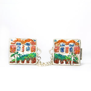 The Golden Gate- Silver Tallit Clips - Shulamit Kanter Official Store