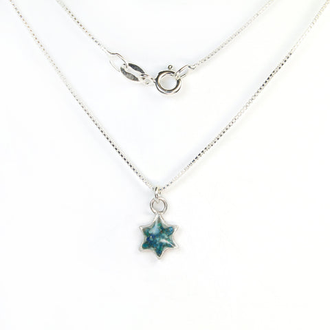 Small Blue Star of David Necklace with stones