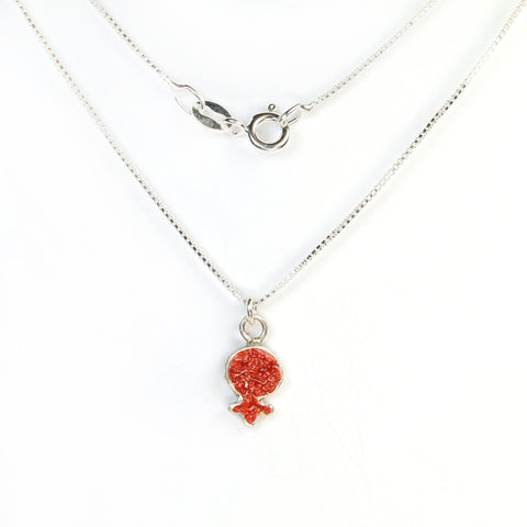 Small Red Pomegranate Necklace with stones