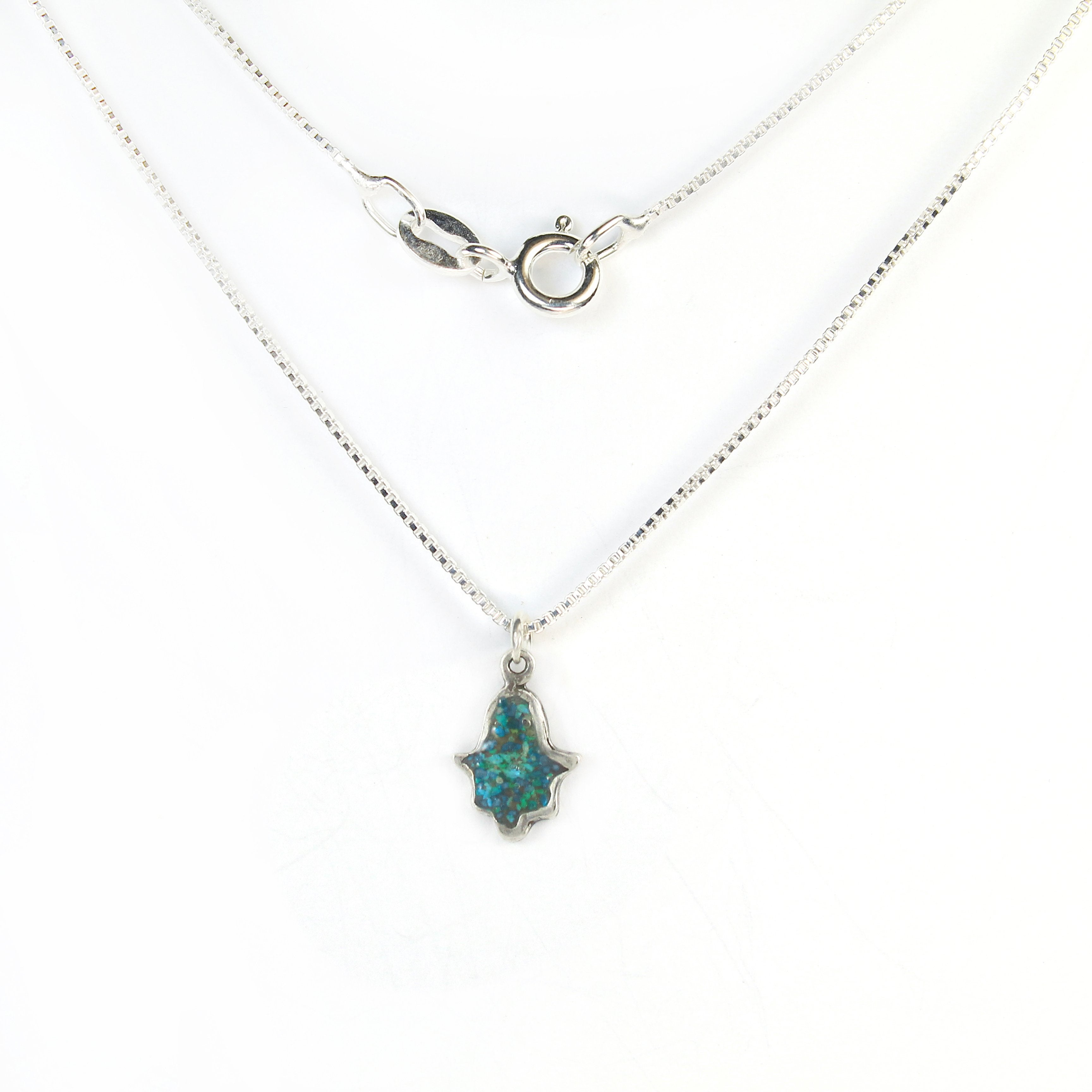 Small Turquoise Hamsa Necklace with stones - Shulamit Kanter