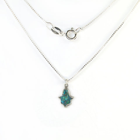 Small Turquoise Hamsa Necklace with stones