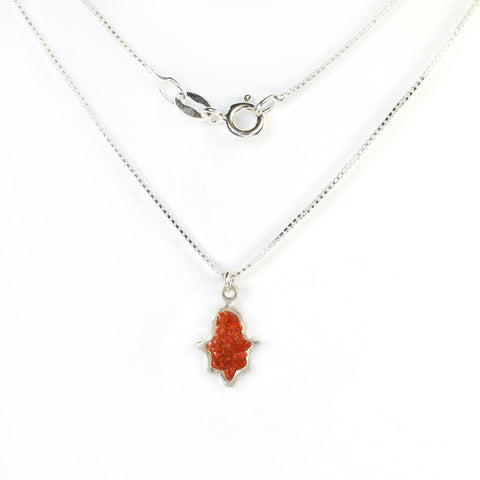 Small Red Hamsa Necklace with stones