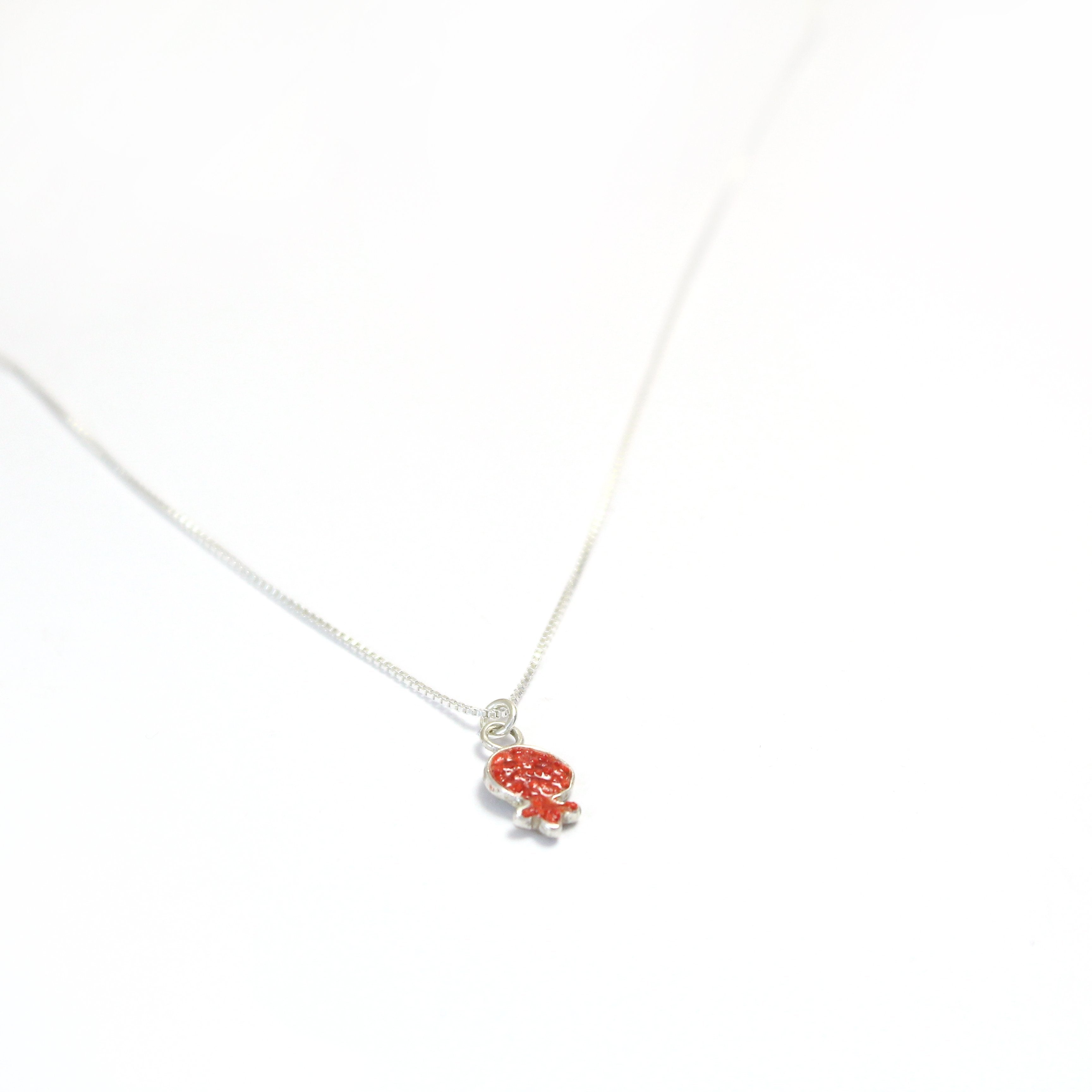 Small Red Pomegranate Necklace with stones - Shulamit Kanter