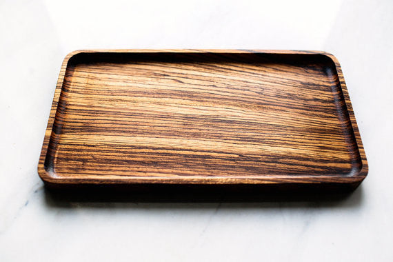 Catchall Tray / Valet Tray, Multi-Purpose, Mens Valet Tray, Zebra Wood, Food Safe, Handcrafted, Handmade, Made in Canada