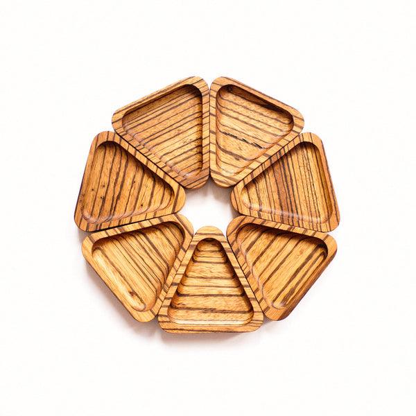 Ring Dish, Boho Bohemian Style, Unisex, Handcrafted with Zebra Wood, Handmade, Made in Canada, Wholesale Set of 7