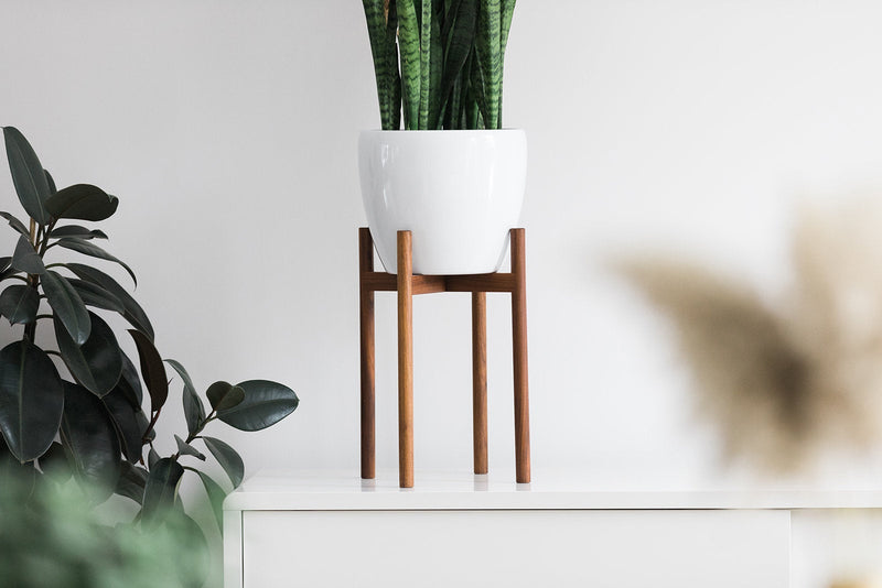 "Mid Century Modern Plant Stand with 11"" Glossy White Planter"