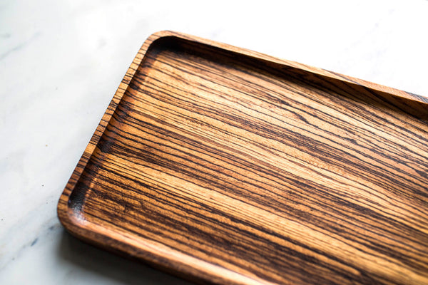 Catchall Tray / Valet Tray, Multi-Purpose, Unisex Valet Tray, Zebra Wood, Food Safe, Handcrafted, Handmade, Made in Canada