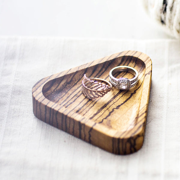 Ring Dish, Boho Bohemian Style, Unisex, Handcrafted with Zebra Wood, Handmade, Made in Canada
