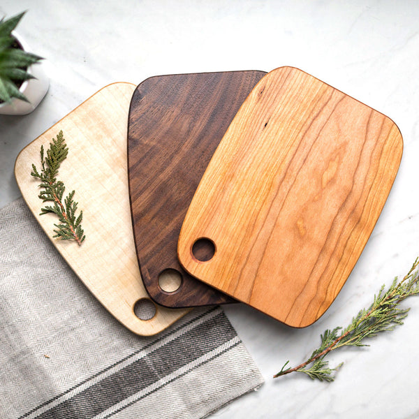 Walnut, Maple & Cherry Wood Serving Boards - Set of 3