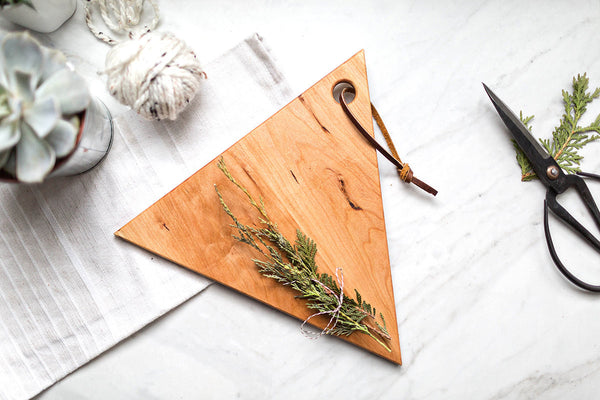 Geometric Wood Triangle Serving Board with Leather Strap