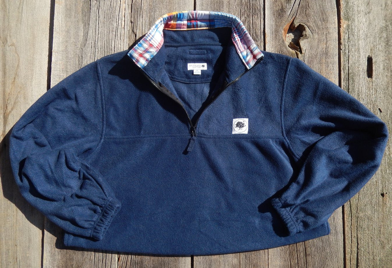 Navy Patchwork Plaid Campus Fleece