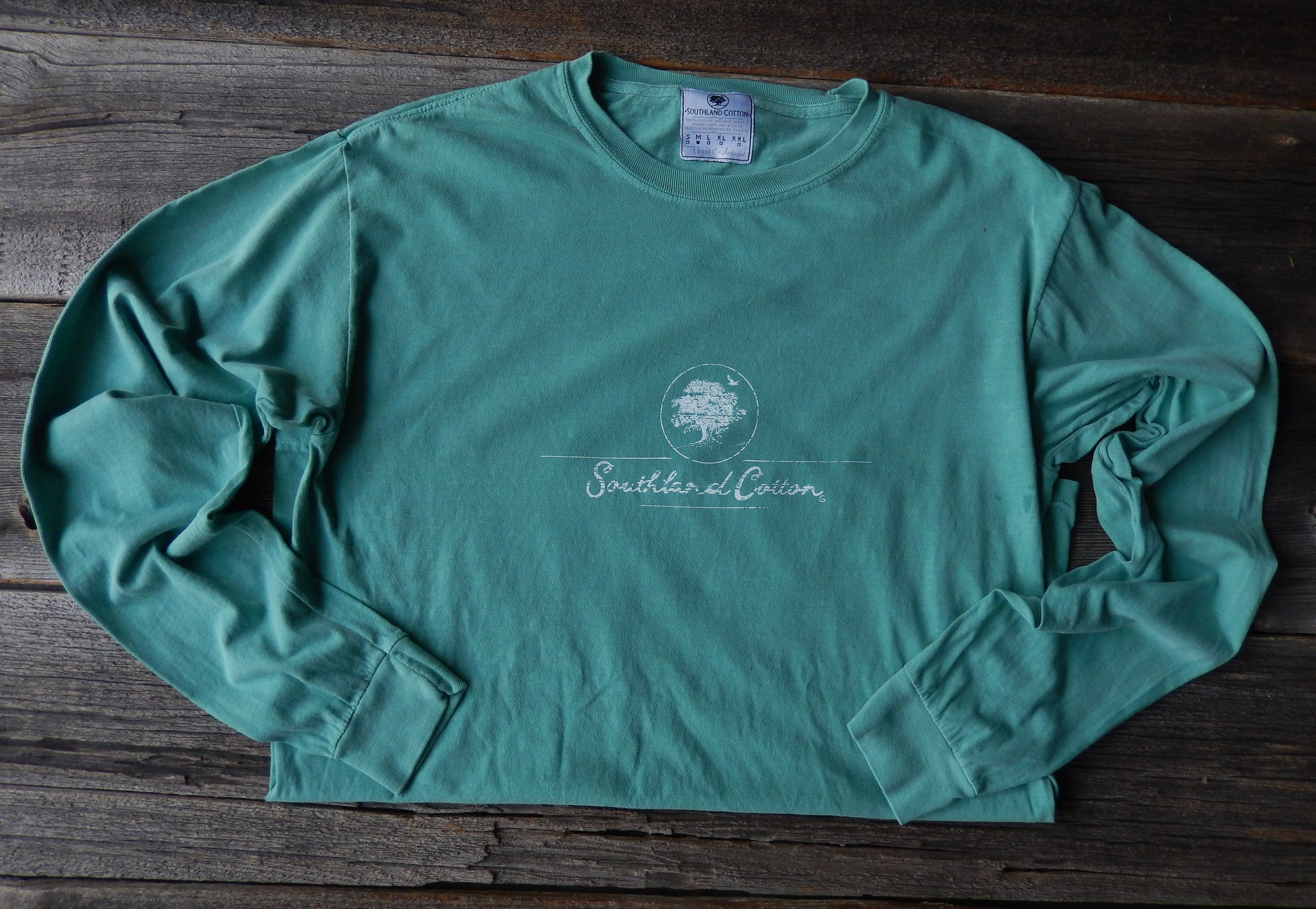Long Sleeve Seafoam Distressed Logo Shirt