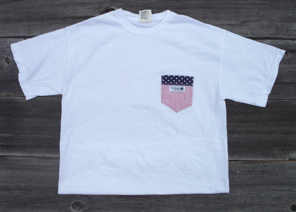 Short Sleeve Pearl White Freedom Flag Pocket Shirt