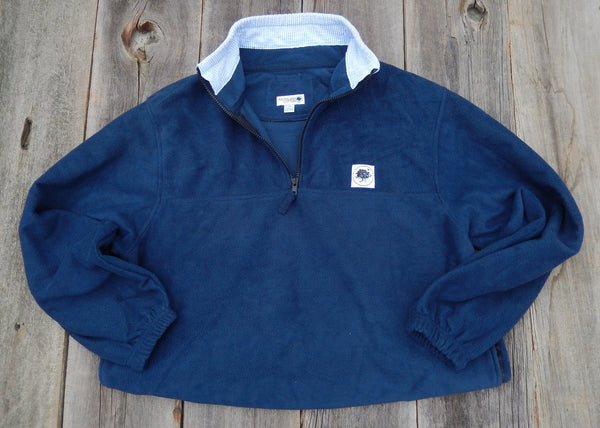 True Navy Seersucker Trimmed Campus Fleece