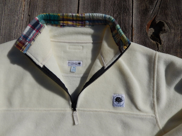 Winter White Patchwork Plaid Campus Fleece