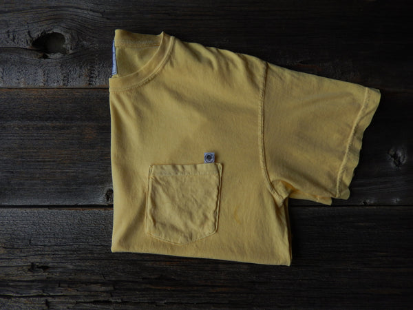 Short Sleeve Yellow Basic Pocket Tee