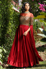 Maroon Cape Sleeves Gown