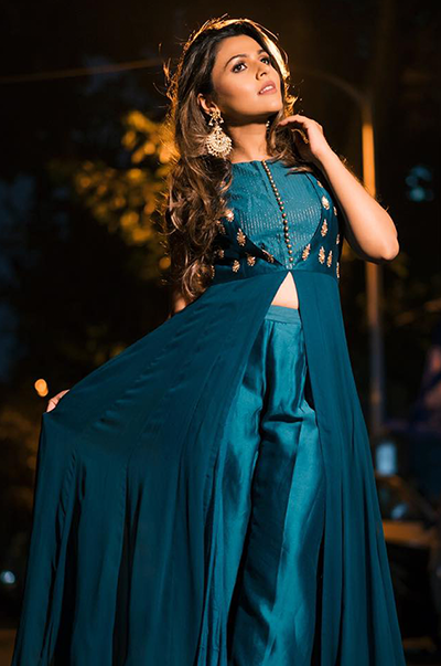 Teal Green Front Open Anarkali with Chanderi Pants