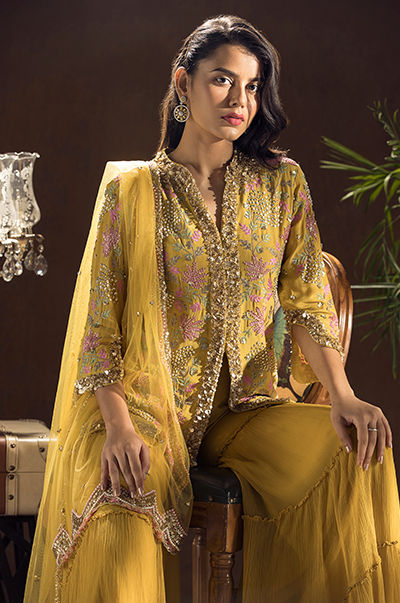 Mustard Shirt with Tiered Sharara and Cutwork Dupatta