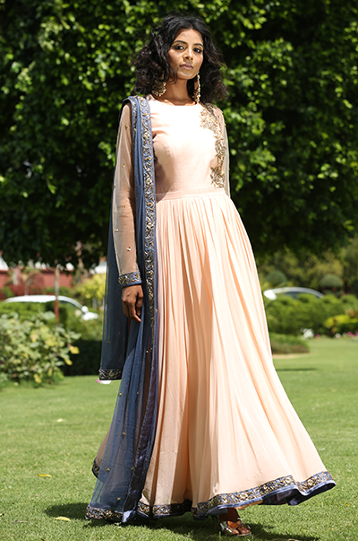Peach And Grey Embroidered Anarkali
