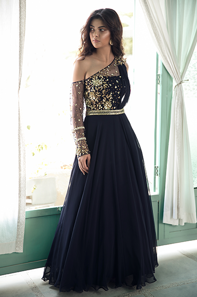 Midnight blue one shoulder gown with attached dupatta