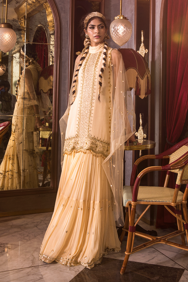 Ivory Short Kurta and Sharara Set