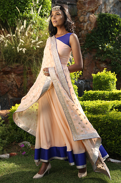 Peach And Blue Anarkali With Gota Patti Dupatta