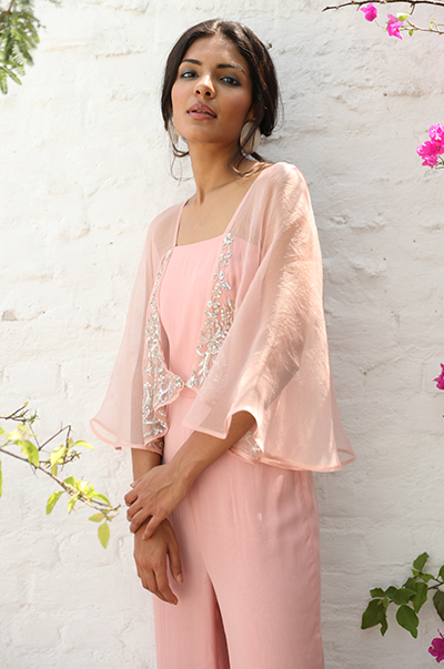Pale Pink jumpsuit with attached organza cape