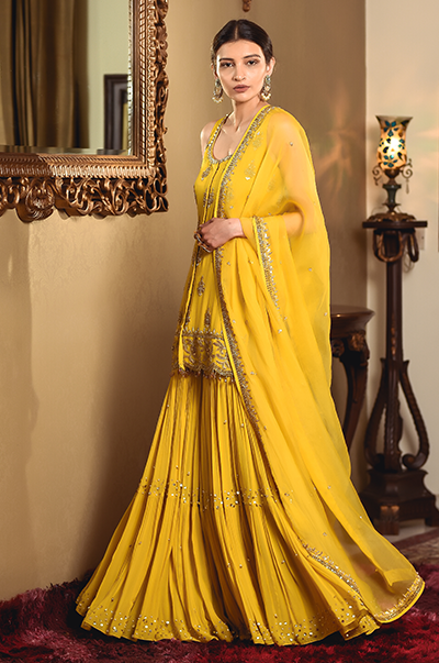 Mustard Shirt and Sharara Set
