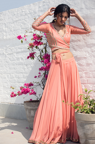 Peach wrap around crop-top skirt set