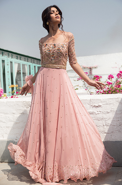 Pale pink embroidered anarkali with belt