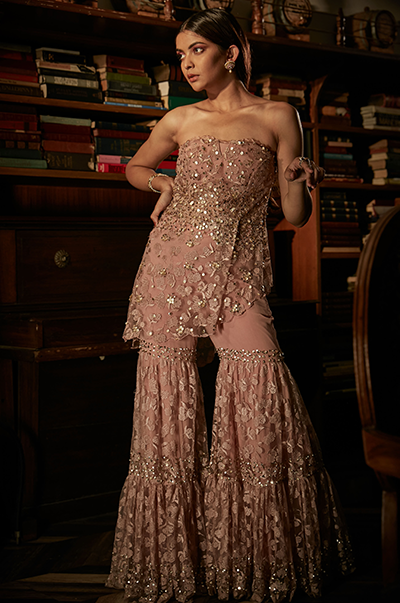 Blush Pink Peplum Bustier with Sharara