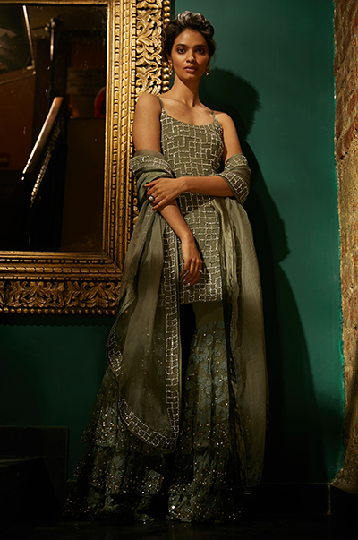 Olive Green Three Layered Sharara With Shirt