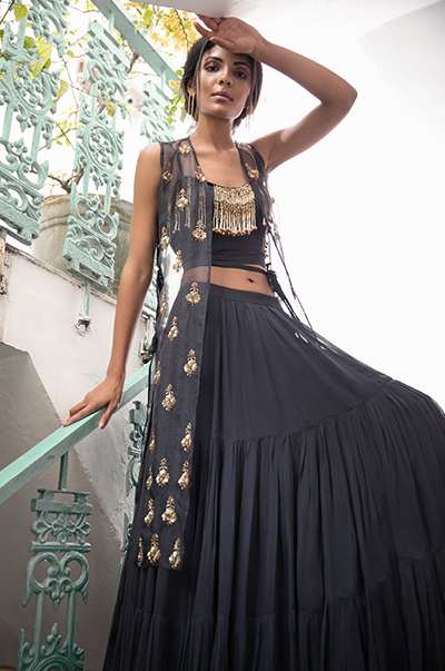 Charcoal Grey Tiered Skirt with Embroidered Cape