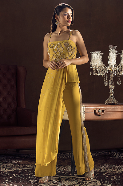 Mustard Pleated Top with Bell Bottom Pants