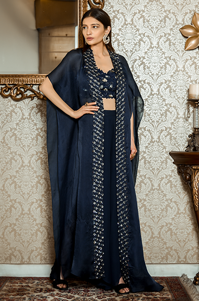 Blue Bustier, Dhoti Pants and Cape Set