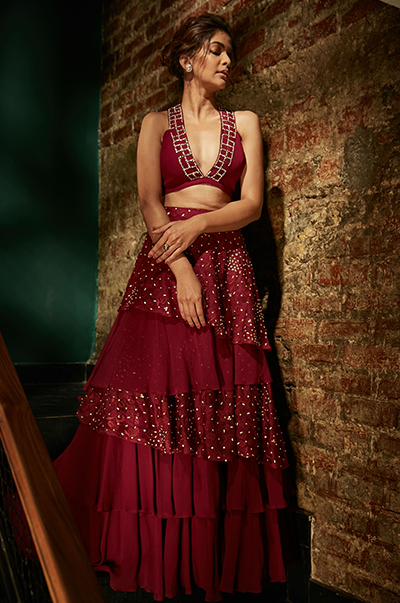 Burgundy Layered Lehenga and Bustier