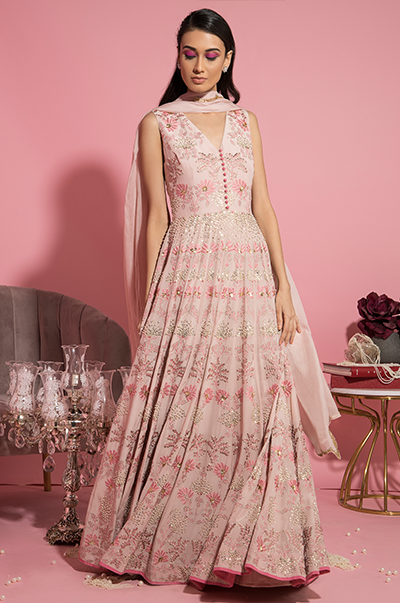 Nude Pink Resham Embroidered Anarkali