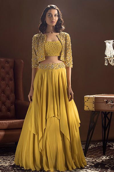 Mustard Boxy Jacket Skirt and Bustier Set