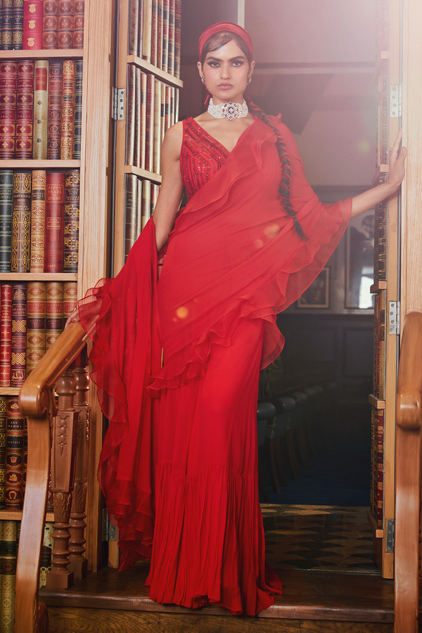Red Pre Stitched Ruffled Saree with Blouse