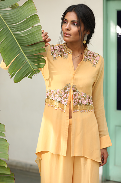Pale yellow asymmetrical embroidered shirt with palazzo pants