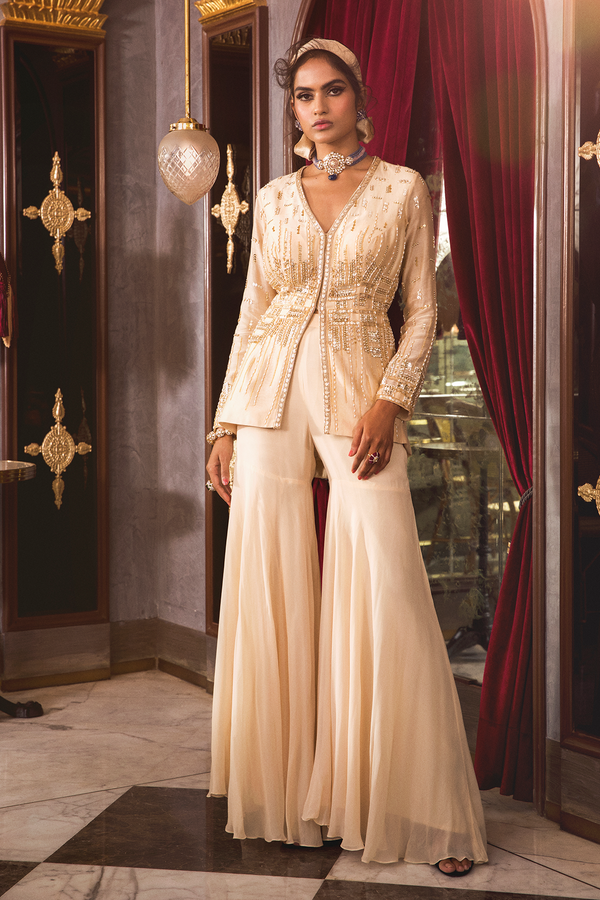 Ivory Peplum with Sharara Pant
