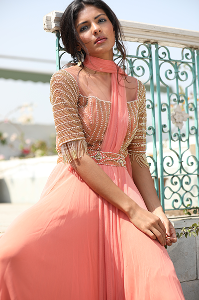 Peach geometric embroidered anarkali with belt
