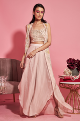 Nude Pink Bustier Cape and Dhoti Pants Set