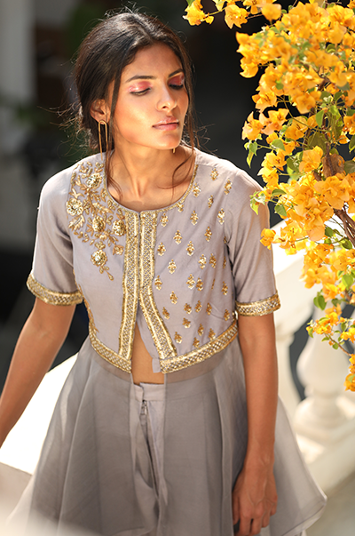 Light grey asymmetrical tunic with dhoti pants