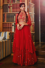 Red embroidered Blouse and Lehenga with Dupatta