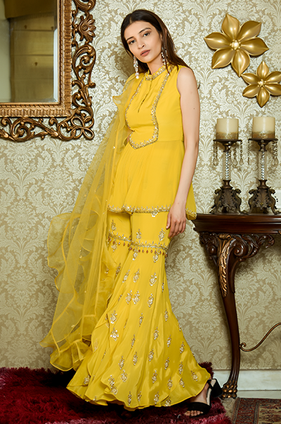 Mustard Kurti with Embroidered Flared Pants