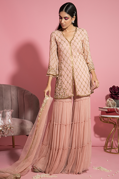 Pink Shirt and Tiered Sharara Set