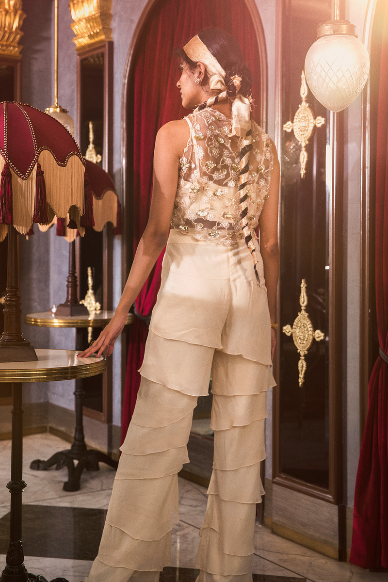 Ivory Tiered Pants with Embroidered Top and Bustier